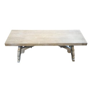 Whitewash Solid Wood Bench