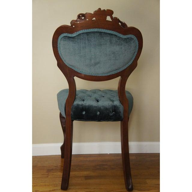 Blue-Green Tufted Velvet Side Chair - Image 5 of 11