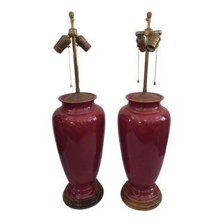 Pair of Sang de Boeuf Vintage Glazed Table Lamps