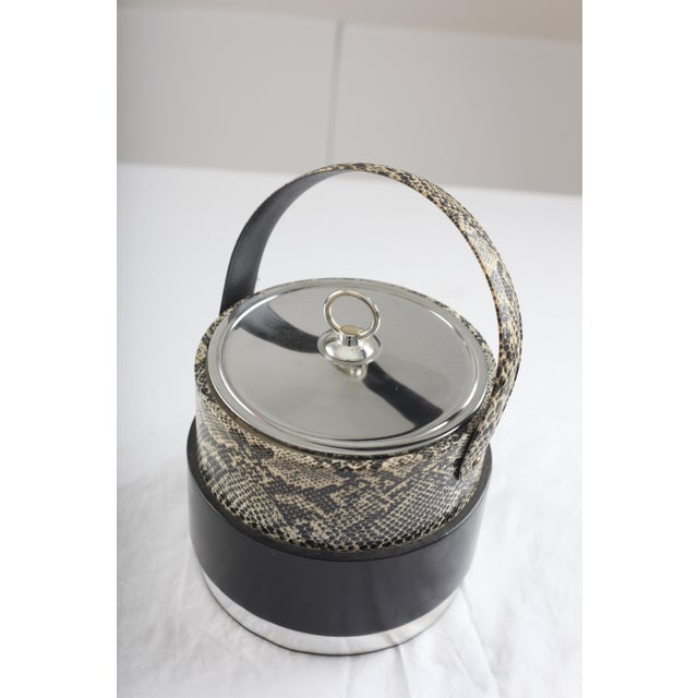 Faux Python Black & Chrome Ice Bucket - Image 3 of 8