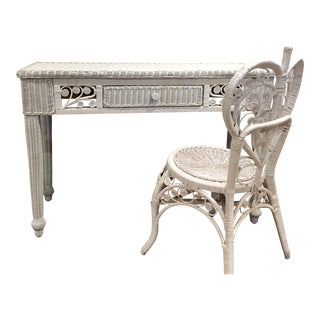 White Wicker Desk & Chair