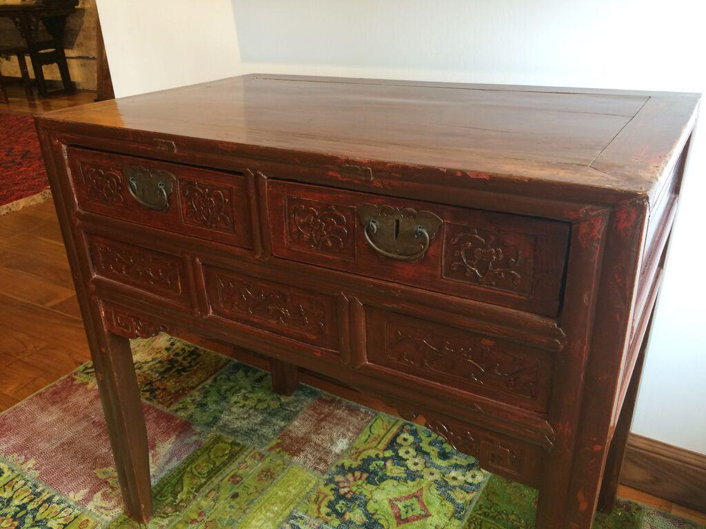 Antique Chinese Carved Wooden Elm Hall Table   Image 3 Of 6