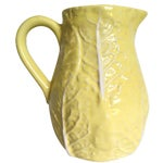 Image of Yellow Majolica Cabbage Leaf Pitcher