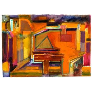 Doris Vlasek-Hails 'Orange on Purple' Abstract Painting