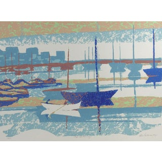 Abstract Cape Cod Harbor Serigraph on Paper