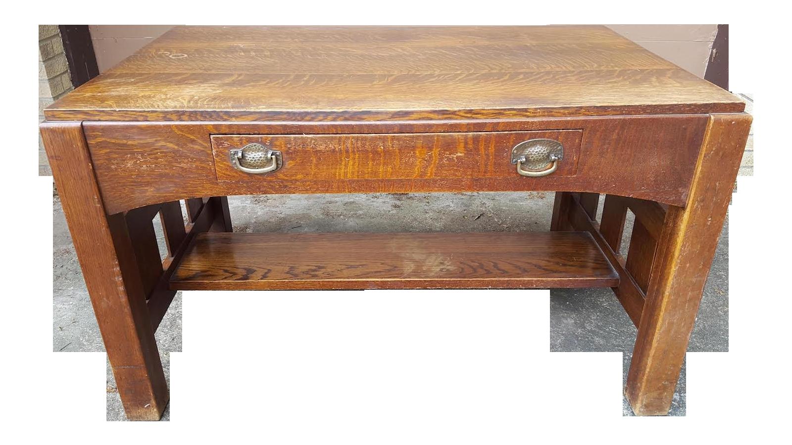 Mission Oak Arts Crafts Library Table Desk C.1900