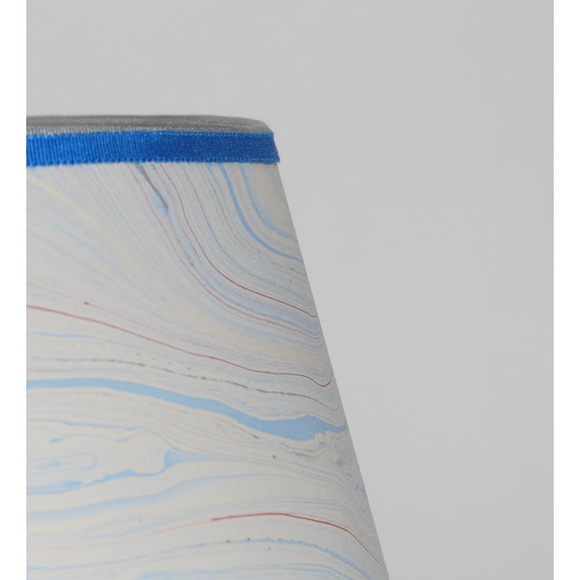 Image of Blue Marble & Silver Lampshade