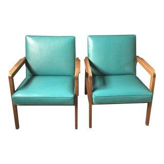 Mid-Century Walnut & Vinyl Arm Chair - A Pair