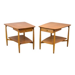 John Stuart 1960s 'Contempora' Walnut End Tables or Nightstands - A Pair