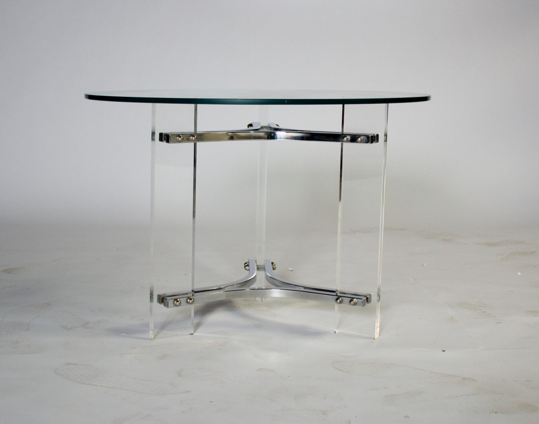 Charles Hollis Jones Lucite Chrome U0026 Glass Table   Image 3 ...