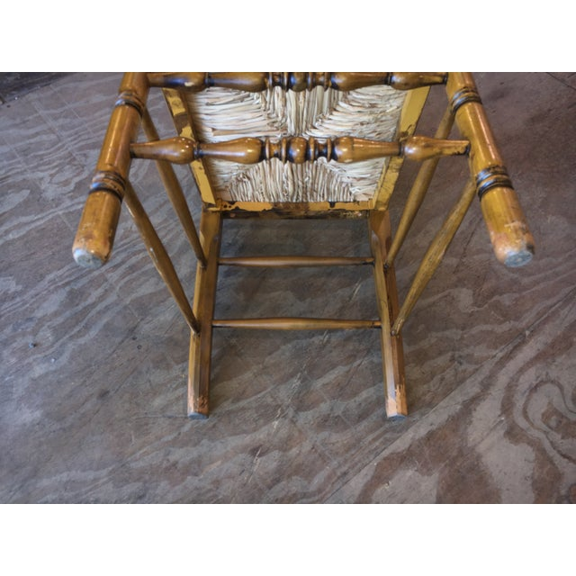 Antique Ladder Back Yellow Wood Chair - Image 6 of 10