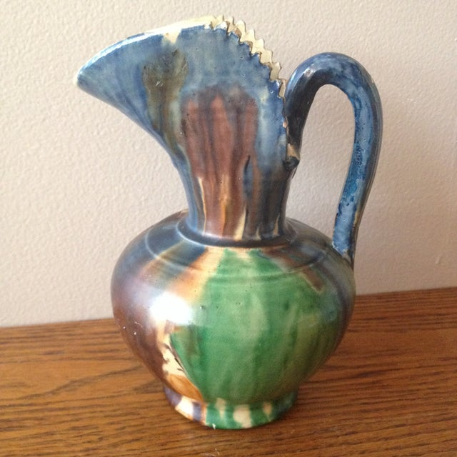 Image of Vintage 1940s Dripware Mexican Pottery Pitcher