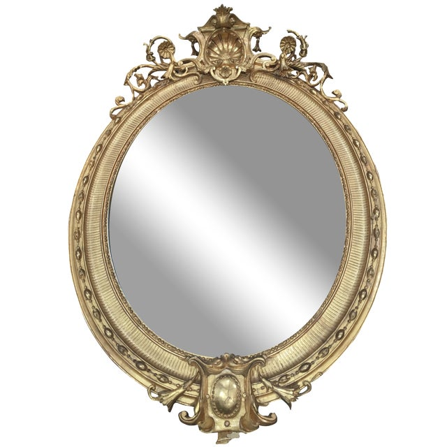 Carved Italian 22K Gold Giltwood Mirror - Image 1 of 5