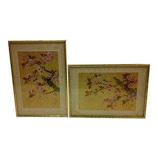 """Birds on Sakura Blossom Trees"" Mid to Late 20th Century Vintage Japanese Paintings"