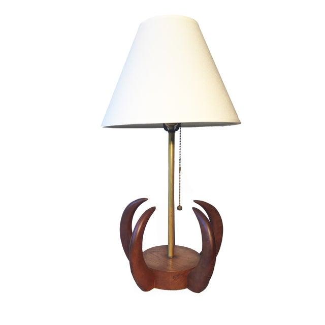 Mid Century Modern Teak Sculptural Table Lamp - Image 1 of 4