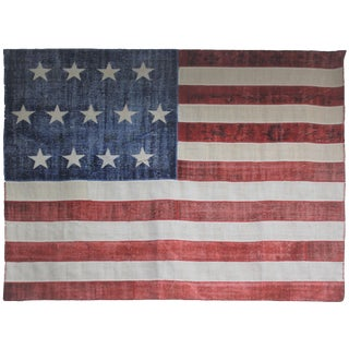 """Aara Rugs Inc Hand Knotted Patchwork Flag Rug - 9'11 X 7'11"""""""