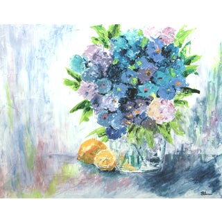 Flowers and Lemons-Floral Painting by C. Plowden