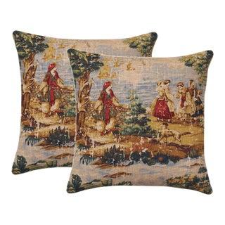 Renaissance Texture Linen Down Feather Pillows - A Pair