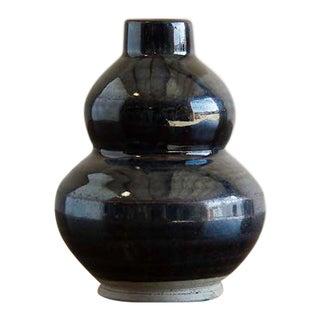Antique Chinese Double Gourd Black Glazed Vase, Kuang Hsu Period, c.1875