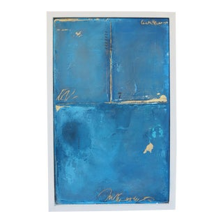 Blue 7. Original Oil and Gold Leaf 2018 by C. Damien Fox