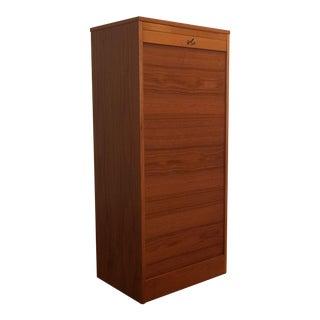 Danish Teak Tambour Door File Cabinet