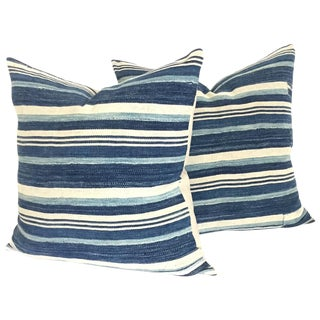 Indigo Stripe Pillows - Pair