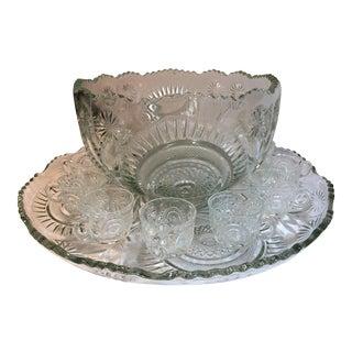 Mid-Century Slewed Horseshoe Punch Bowl Set