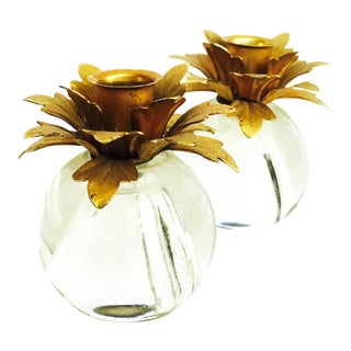 Vintage Brass & Glass Floral Candle Holders- A Pair