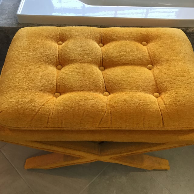 Vintage Yellow X Bench - Image 2 of 7