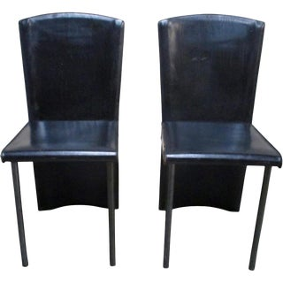 Zanotta Italian Mid-Century Modern Leather Chairs - A Pair