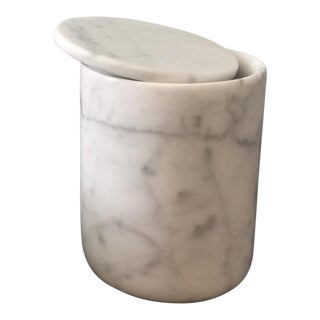 Carrara Marble Jar with Marble Lid, Candle Jar