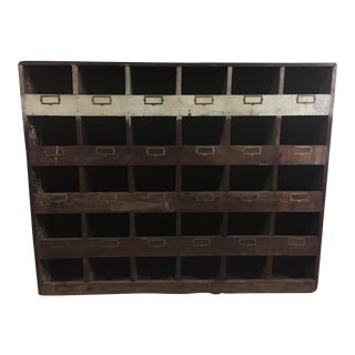 Old Hardware Cubby Mail Sorter Display Cabinet