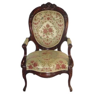 Victorian Carved Mahogany Parlor Chair - Pair