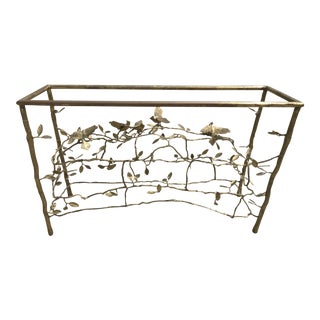 Willy Daro Hollywood Regency Brass Branch & Bird Console Table