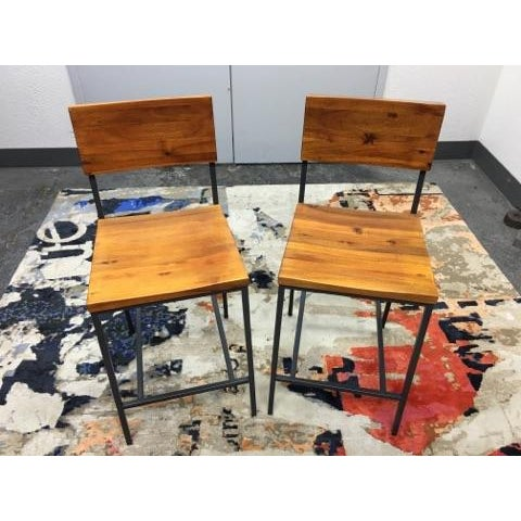 West Elm Rustic Counter Stools - A Pair - Image 7 of 11
