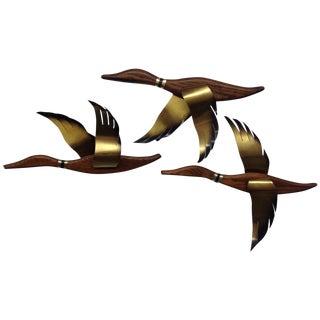 Mid-Century Walnut & Brass Geese - Set of 3