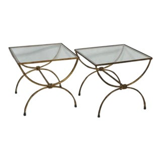 Hollywood  Regency Gilt Iron Side Tables - Pair