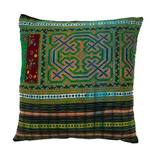 Handsewn Hill Tribe Green Pillow Cover