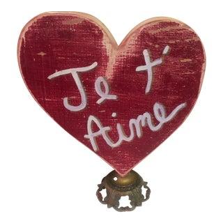 Wooden Heart Love Note by Folk Artist