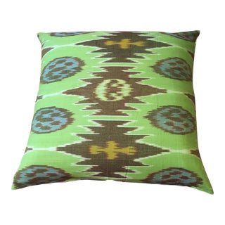 Green & Brown Ikat Pillow