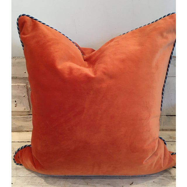 Melon Orange Silky Velvet Pillows - Pair - Image 2 of 4