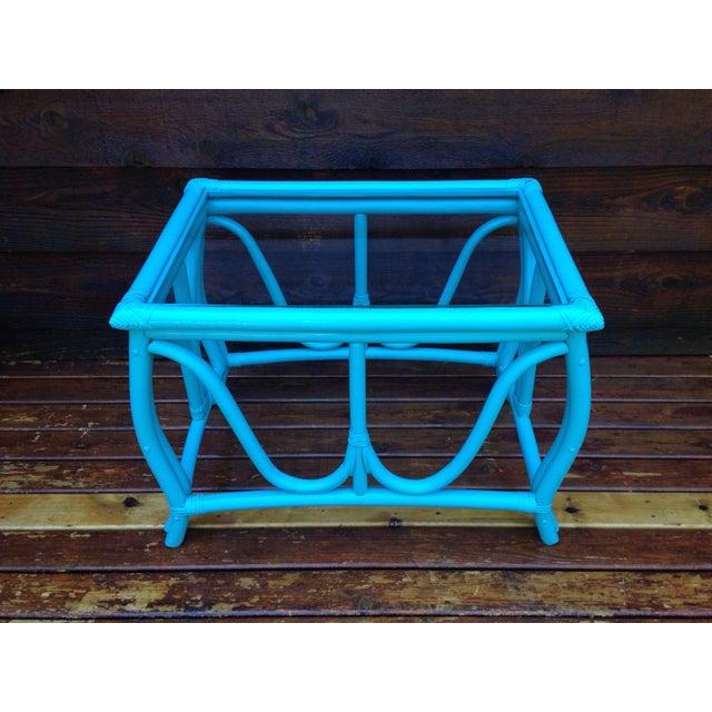 Blue Vintage Rattan Table - Image 2 of 7