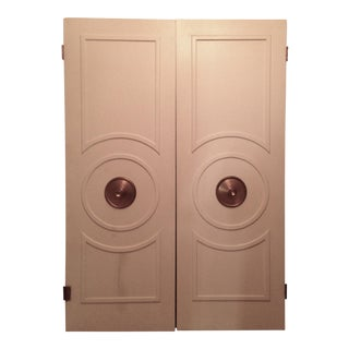 Art Deco Mid-Century Wood & Brass Doors - A Pair