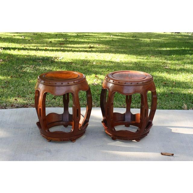 Vintage Asian Rosewood Drum Stools - A Pair - Image 11 of 11