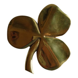 Vintage Brass Irish Shamrock With Poem