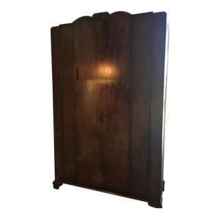 Vintage Cherry Wood Stained Pine Armoire
