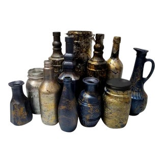Hand-Painted Metallic Marbled Bottles & Jars - Set of 12