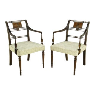 Pair Kittinger Mahogany & Burled Walnut Regency Arm Chairs