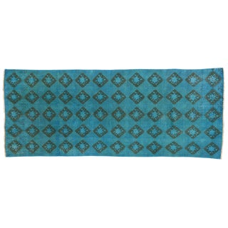 Turkish Sivas Overdyed Teal Blue Turquoise Carpet Runner - 3'7 x 9'