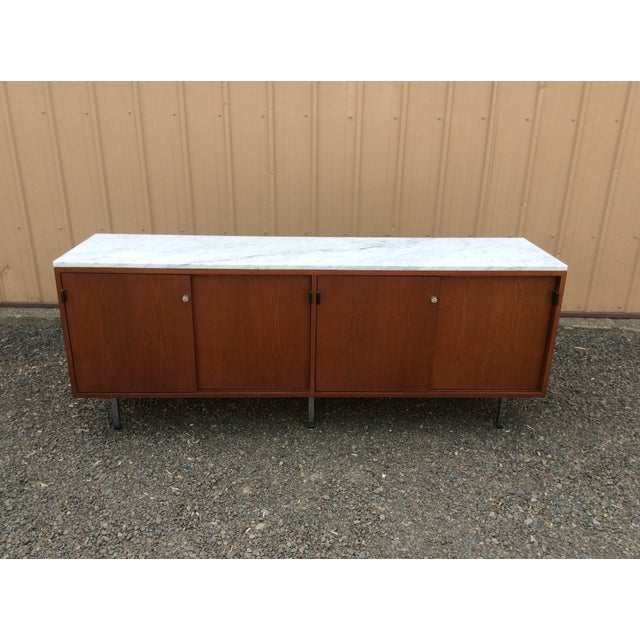 Florence Knoll Walnut Carrara Marble Credenza - Image 6 of 8